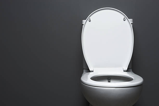 Plain white toilet on grey background.
